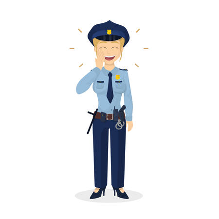 policewoman: Isolated laughing policewoman.