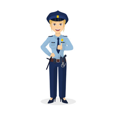 policewoman: Isolated thumb up policewoman.