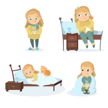 common cold: Sick girl set. Illustration
