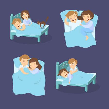 Snoring couples set.