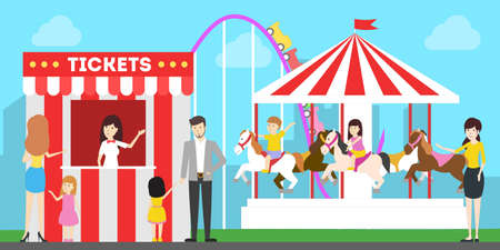 Amusement park illustration. People have fun at the park with roller coaster and carousel. Buying tickets.