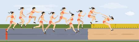 Drievoudige sprong beweegt illustratie. Vrouw springt in uniform. Vector Illustratie