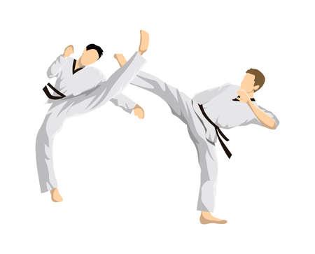 Taekwondo athletes vector