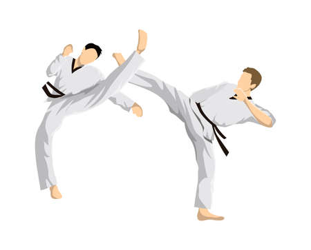 Taekwondo athletes vector