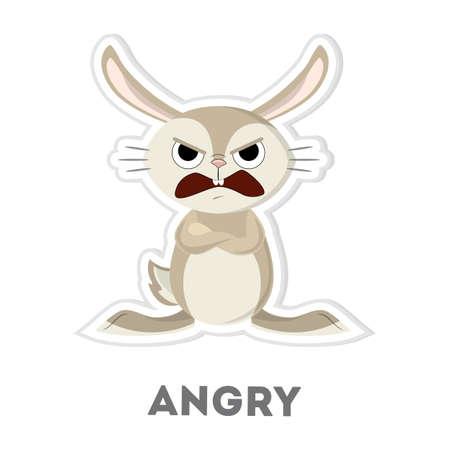 Isolated angry rabbit. Funny cartoon character on white background. Ilustração