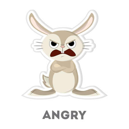 Isolated angry rabbit. Funny cartoon character on white background. Illustration