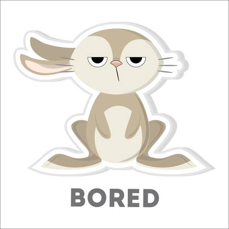 Isolated bored rabbit.
