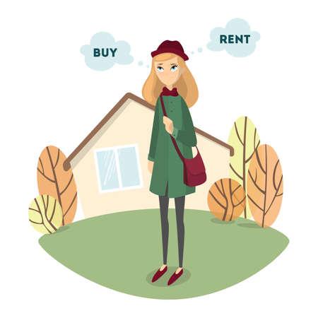 Hermosa mujer confundida decide comprar o alquilar la casa.