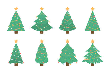 Christmas tree set. Isolated green tree illustartion with decorative toys and stars on white background. Illustration