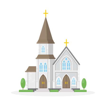 흰색 배경에 격리 된 christan 교회입니다. 종교 건물입니다.