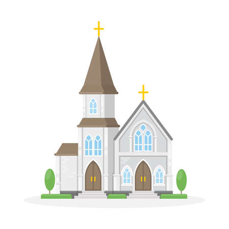 Isolated christan church on white background. Religious building. Stock fotó - 83485176