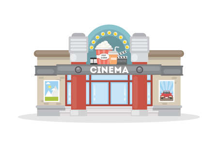Isolated movie theater on white background. Building with cinema sign and pop corn decoration.