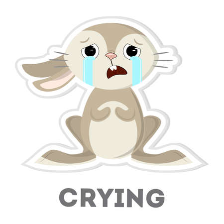 eyes looking down: Isolated crying rabbit on white background. Funny cartoon character. Illustration