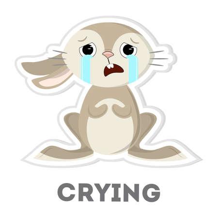 Isolated crying rabbit on white background. Funny cartoon character. Illustration