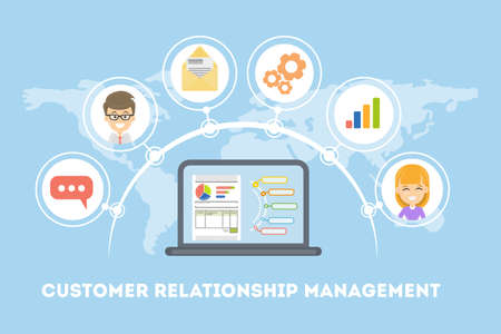 Customer relationship management. Idea of marketing, targeting and organization.