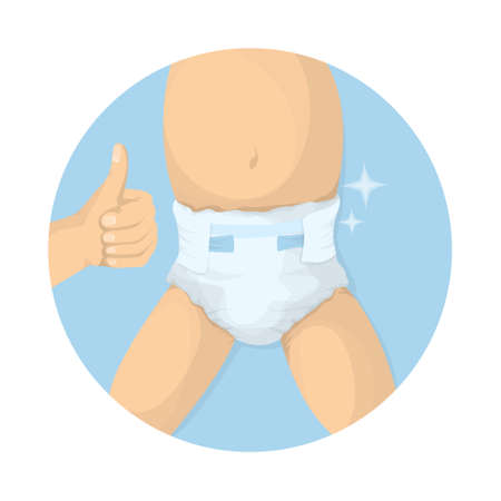 Changing diapers illustration. Adult hands with kids body. Baby care. Çizim
