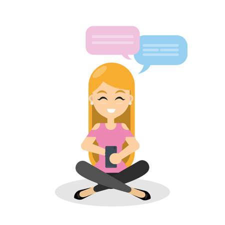 소녀 스마트 폰을 사용 하여 채팅. 일러스트