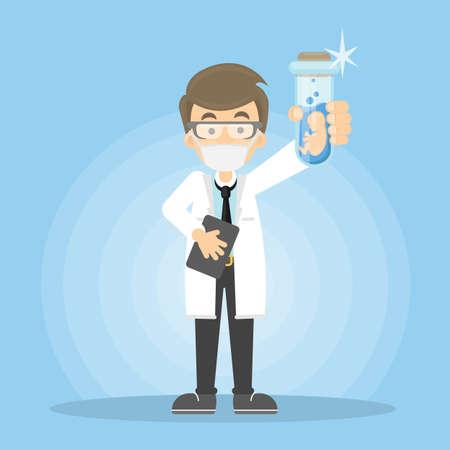 A doctor on a blue background vector illustration. Illustration