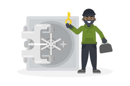 Thief robbing safe.
