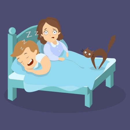 Snoring husband in bed.
