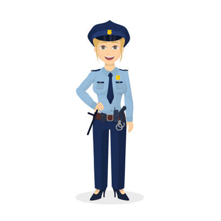 Isolated happy policewoman.