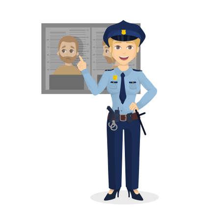 policewoman: Isolated warning policewoman.