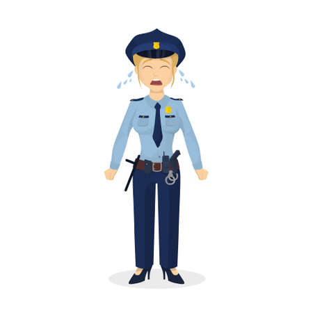 policewoman: Isolated crying policewoman.