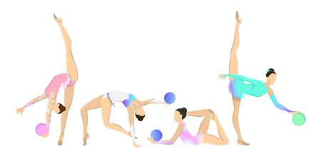 Gymnastiek met bal op witte achtergrond wordt geplaatst die. Vrouwen in sportoutfits met ritmische uitrusting.