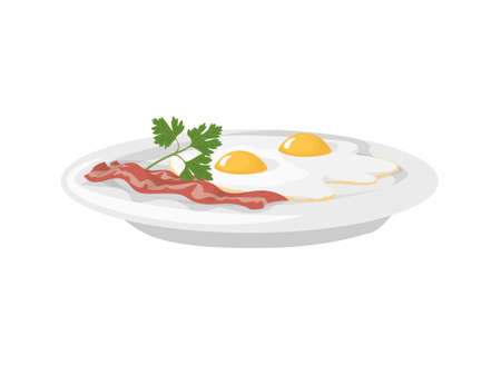 Isolated breakfast fried eggs with bacon on a plate on white background.