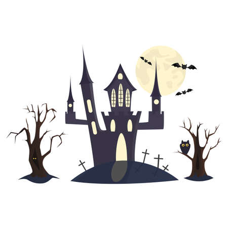 Black Halloween castle  with old trees, bats, owls and moon.