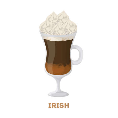 Isolated irish coffee. Glass with cream on white background. Illustration