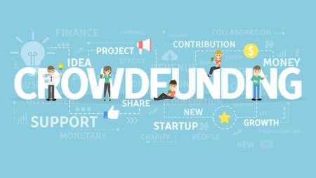 Crowdfunding illustartion concept.