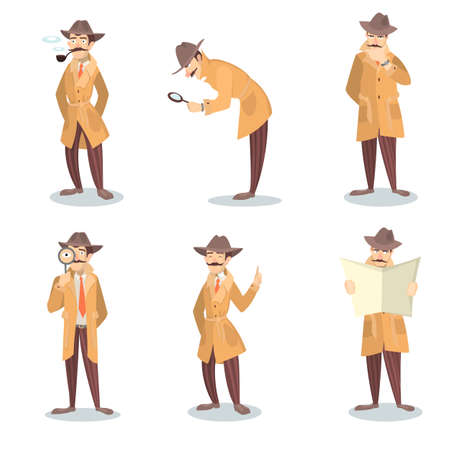 crime solving: Isolated detective set.