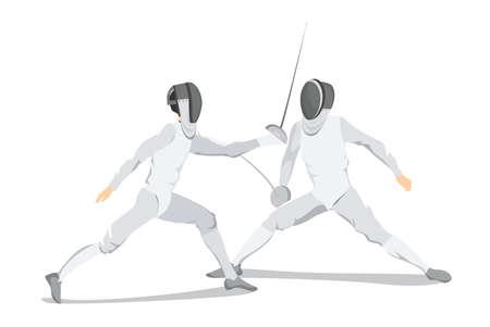 Isolato atleta di scherma su sfondo bianco. Atleta in abito bianco con maschera e spada. Archivio Fotografico - 83877921