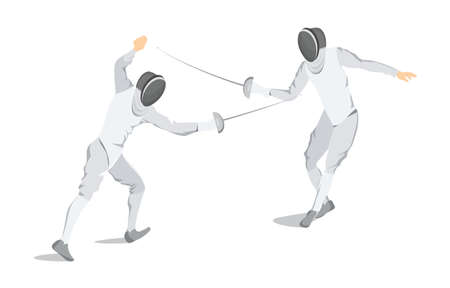 Isolated fencing athlete. Illustration