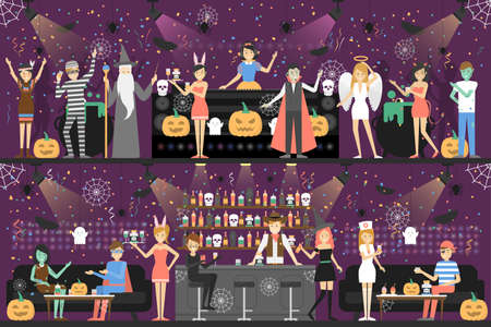 halloween background: Halloween party at club. People in different costumes have fun.