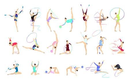 Conjunto de ilustraciones de gimnasia. Mujeres vestidas con equipamiento gimnástico como pelota y cinta.