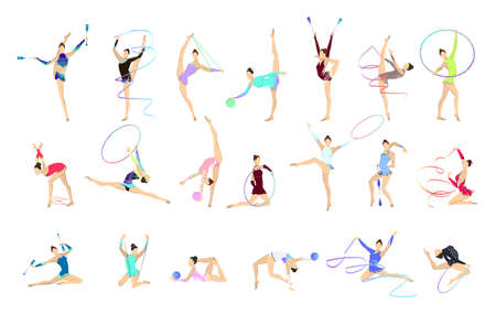 Gymnastics illustrations set. Women in outfit with gymnastic equipment as ball and tape. Reklamní fotografie - 83878274