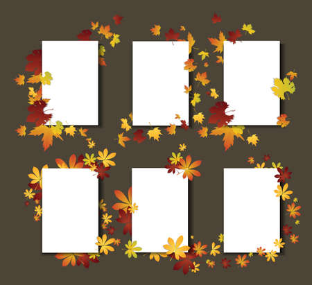 Autumn leaves template cards. White cards with fall decoration. Illustration