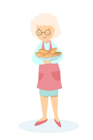 Isolated grandmother with pies on white background. Illustration