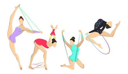 Gymnastics with jumping rope. Women in outfit with ropes on white background. Illustration