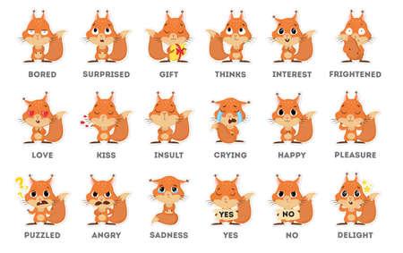 Autocollant emoji écureuil sur fond blanc. Toutes sortes d'émotios aussi tristes, perplexes et heureux.