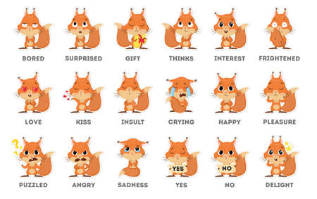 Etiqueta engomada de emoji de ardilla en fondo blanco. Todo tipo de emociones como triste, perplejo y feliz.