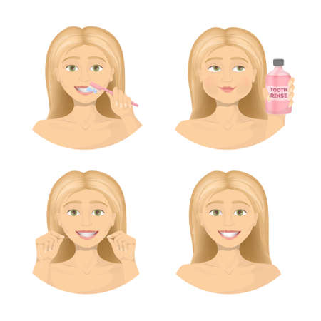Teeth care routine. Woman shows how to care about mouth.
