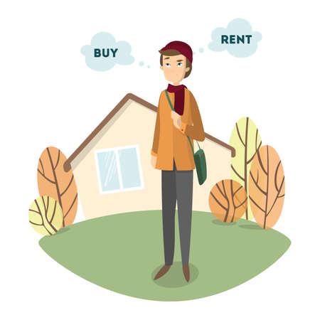 Acheter ou louer. Bel homme confus décide d'acheter ou de louer la maison. Banque d'images - 83879201