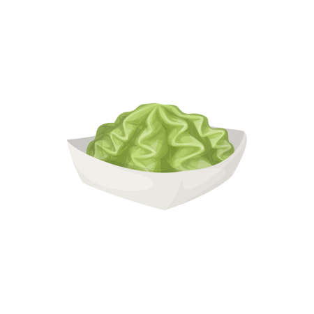 Hot wasabi sauce on plate on white background.