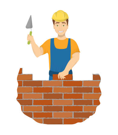 Isolated builder bricklayer.