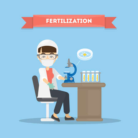 diabetes syringe: Fertilization in laboratory. Illustration
