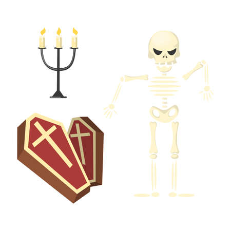 Skeleton with coffin.