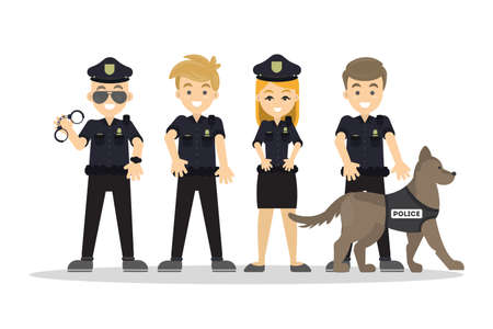 Police staff set. Illustration